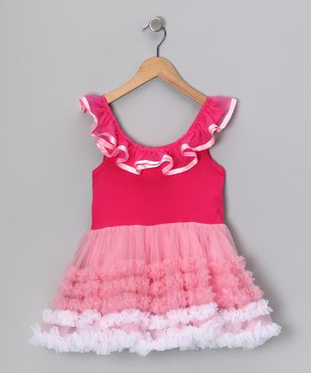 Hot & Light Pink Ribbon Ruffle Dress - Infant, Toddler & Girls