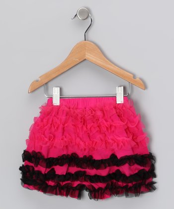 Hot Pink & Black Ruffle Shorts - Infant, Toddler & Girls