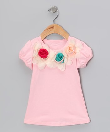 Light Pink Pearly Flower Tee - Toddler & Girls