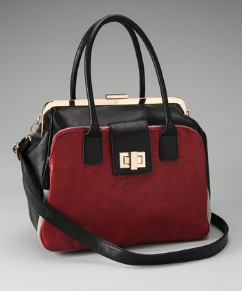 Black & Burgundy Two-Tone Tote