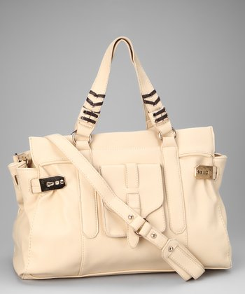 Off-White Grommet Laced Rectangle Tote