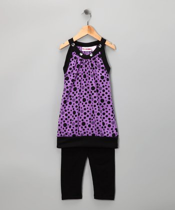 Purple Polka Dot Tunic & Leggings - Toddler & Girls