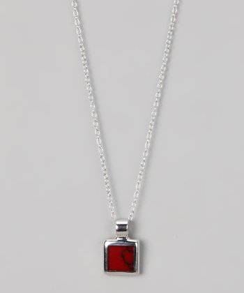 Sterling Silver & Red Jasper Small Square Pendant Necklace