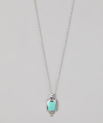 Turquoise & Sterling Silver Small Rectangle Pendant Necklac