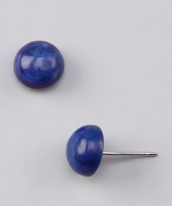 Sodalite & Sterling Silver Round Stud Earrings