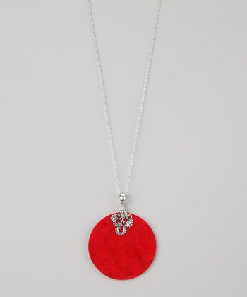 Coral & Sterling Silver Bali Disc Pendant Necklace