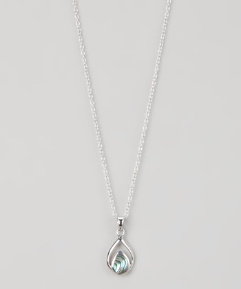 Sterling Silver & Abalone Double Teardrop Pendant Necklace
