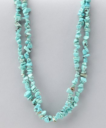 Turquoise Double Strand Chip Necklace