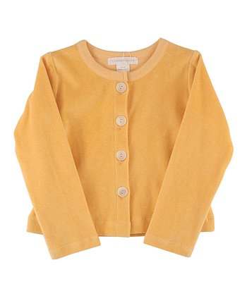 Apricot Velour Organic Cardigan - Infant & Girls