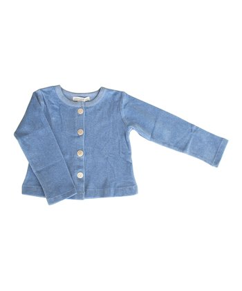 Blue Velour Organic Cardigan - Infant, Toddler & Girls