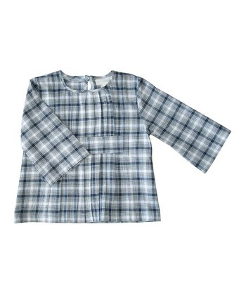 Navy Plaid Pleated Organic Blouse - Toddler & Girls