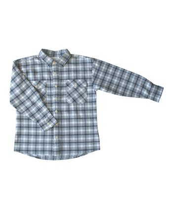 Navy Plaid Flannel Organic Button-Up - Toddler & Boys