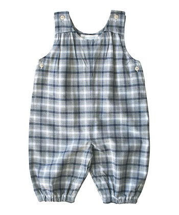 Navy Plaid Organic Flannel Shortalls - Infant