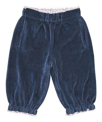 Navy Velour Organic Relaxed-Fit Pants - Toddler & Girls