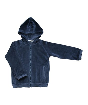 Navy Velour Organic Zip-Up Hoodie - Boys