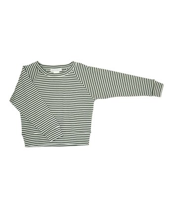 Army & Ecru Stripe Organic Sweatshirt - Infant & Boys