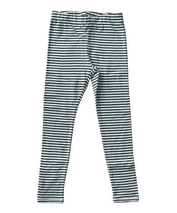 Army & Ecru Stripe Organic Leggings - Kids