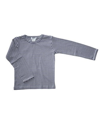 Prune & Ecru Stripe Organic Tee - Girls