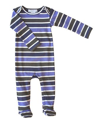 Navy Stripe Organic Footie - Infant