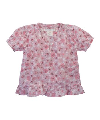Pink Flower Organic Ruffle Blouse - Toddler & Girls
