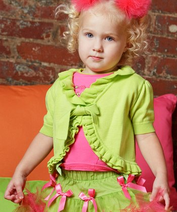 Lime Ruffle Open Cardigan - Infant, Toddler & Girls