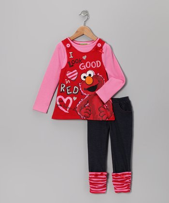 Red Elmo Layered Jumper & Cuffed Jeggings - Infant & Toddler