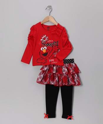 Red Elmo Ruched Bow Tunic & Skirted Leggings - Infant & Toddler