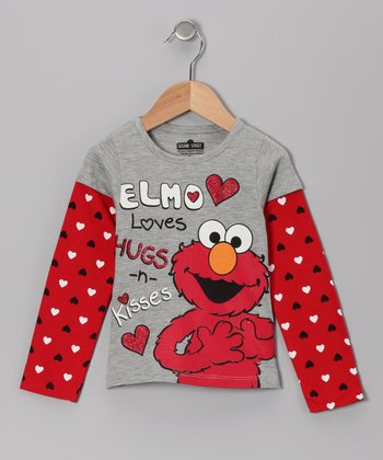 Gray 'Hugs 'n' Kisses' Elmo Layered Tee - Toddler