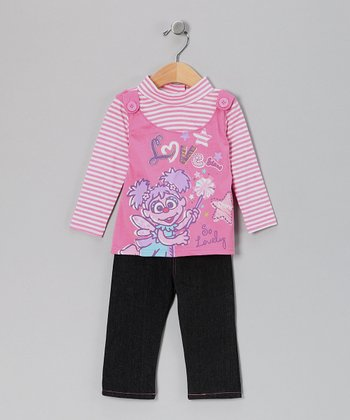 Pink Stripe Abby Cadabby Layered Top & Pants - Toddler