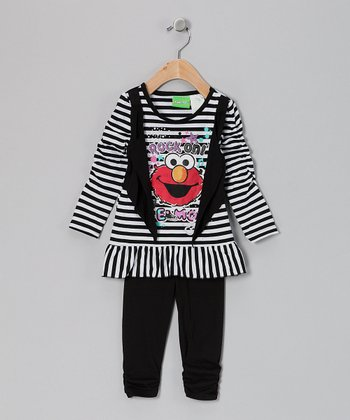 Black Stripe Elmo Layered Vest Tunic & Leggings - Infant