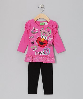 Pink 'Peace' Elmo Ruched Tunic & Leggings - Infant