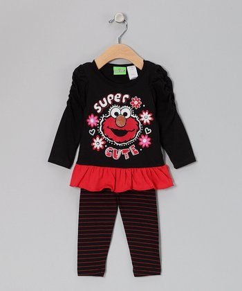 Black 'Super Cute' Elmo Ruched Tunic & Leggings - Infant