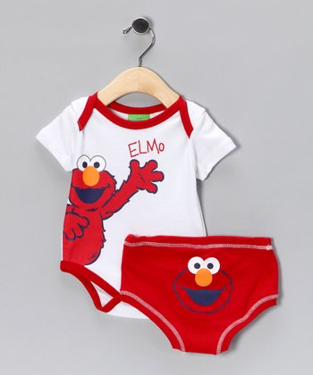 Sesame Street White Elmo Bodysuit & Diaper Cover - Infant