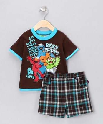 Deep Chocolate Elmo Tee & Plaid Shorts - Infant