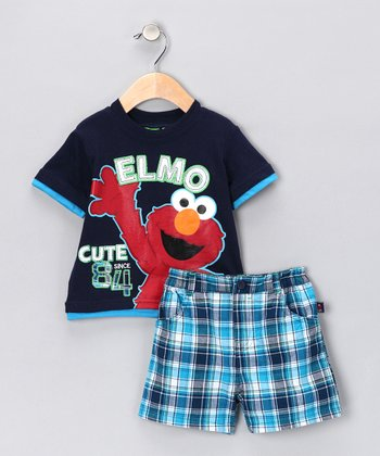 Peacoat Elmo Tee & Plaid Shorts - Infant