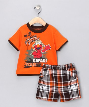 Mandarin Orange Elmo Tee & Plaid Shorts - Infant
