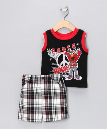 Black 'Peace Rock' Tank & Shorts - Infant