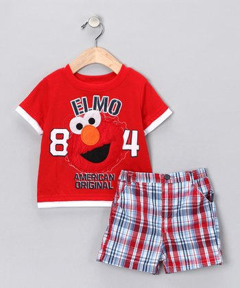 Red '84' Elmo Tee & Plaid Shorts - Infant