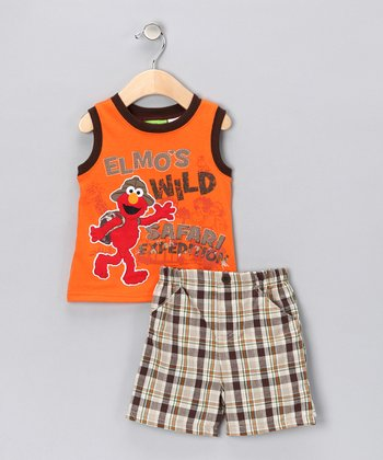 Mandarin Orange Elmo Tank & Shorts - Infant