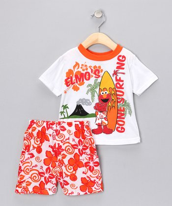 Mandarin Orange Elmo Tee & Shorts - Infant
