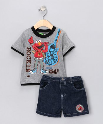 Heather Gray Tee & Denim Shorts - Infant