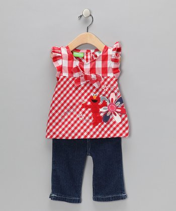 Red Plaid Elmo Swing Top & Jeans - Toddler