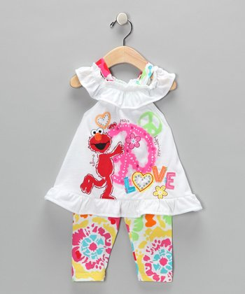 White Elmo 'Love' Dress & Tie-Dye Leggings - Infant