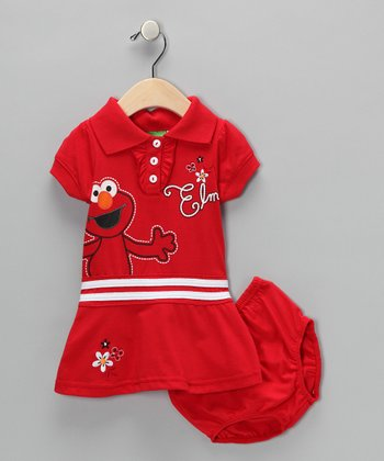 Red Elmo Flower Dress & Diaper Cover - Infant