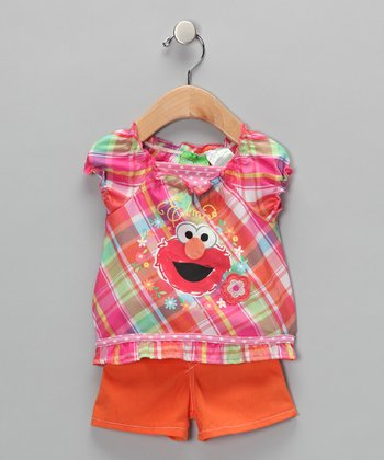 Plaid 'Elmo' Peasant Top & Shorts - Infant & Toddler