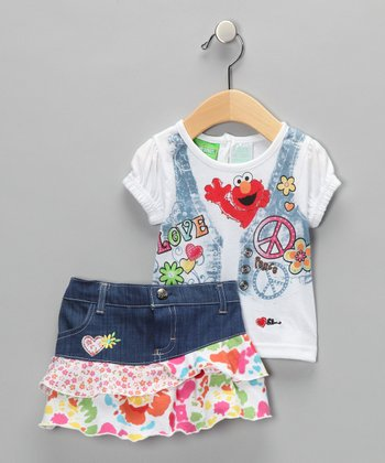 White & Denim Elmo 'Love' Tee & Skirt - Infant & Toddler