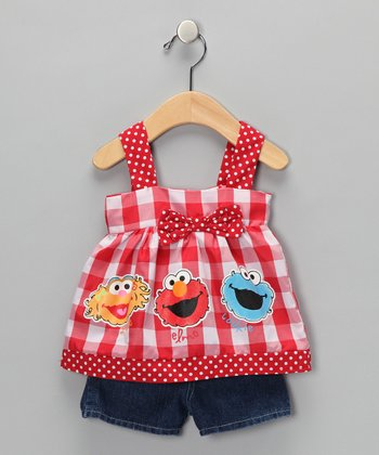 Red Plaid Elmo Swing Top & Shorts - Infant