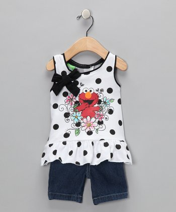 White Elmo Polka Dot Top & Shorts - Infant & Toddler
