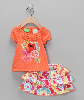 Orange Elmo Puff-Sleeve Tee & Skirt - Infant & Toddler