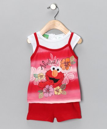 Red & Pink 'Aloha' Elmo Layered Tank & Shorts - Infant & Toddler